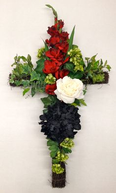 My Spring 2014 Season Grape Vine Cross with Faux Florals: Black Hydrangea, White Rose and Red Gladiolus on Ivy... Design and Arrangement by http://nfmdesign.synthasite.com/