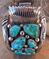 Vintage Native American Navajo Sterling Silver Green Turquoise Watch Bracelet