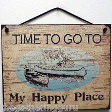 NEW Happy Place Quote Saying Wood Sign Board Faux Wall Hanging Decor Fishing