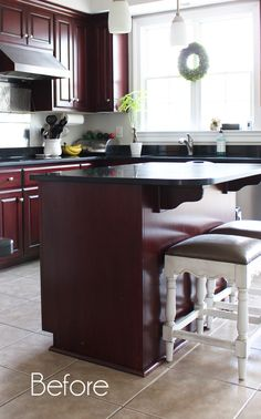 Kitchen Island Makeover with Beadboard (Confessions of a Serial Do-it-Yourselfer) Kitchen Island Makeover, Diy Kitchen Island, Old Kitchen, Updated Kitchen, Kitchen Island Back Panels, Fixer Upper, Painted China Cabinets, Kitchen Linens, Kitchen Trends