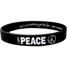 I am Peace Classic Silicone Bracelet (2.80 CAD) ❤ liked on Polyvore featuring women's fashion, jewelry, bracelets, accessories, peace symbol jewelry, peace sign jewelry, silicone jewelry and peace jewelry