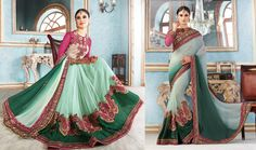 Party Wear Embroidered  Georgette Jacquard Art Silk Net Saree 2091