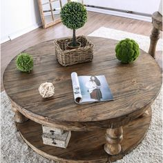 Gracie Oaks Amstel Floor Shelf Coffee Table with Storage Round Coffee Table Diy, Rustic Coffee Tables, Coffee Table Design, Decorating Coffee Tables, Coffee Table With Storage, Coffee Table Out Of Pallets, Pallet Benches, Pallet Couch, Pallet Tables