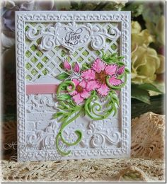 Sizzix Hearts and Vine Frame embossing folder and Brick Wall embossing folder, Spellbinders Lattice, Floral Flourishes, and Parisian accents dies