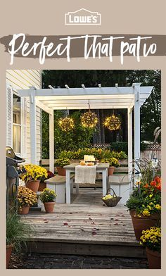 Find all your outdoor living needs at Lowe's. From grills & outdoor fireplaces to patio furniture and pool maintenance, we've got you covered. Outdoor Rooms, Outdoor Living, Outdoor Decor, Indoor Outdoor, Backyard Patio Designs, Backyard Landscaping, Building A Porch, Outside Living, House With Porch