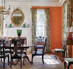 Orange Dining Room, Dining Room Walls, Orange Paint Colors, Orange Walls, Orange Rooms, Southern Homes, Southern Style, Home Alabama, Interior Architecture