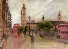 All the icons that a casual visitor to London would expect to see in one view; Big Ben, the Houses of Parliament, a red double decker bus, a red phonebox, and finally a wet street with umbrella toting pedestrians. PRINTS are available to purchase below. Double Decker Bus, Houses Of Parliament, Many Faces, British Isles, Watercolors, Big Ben, London, Craft, Artist