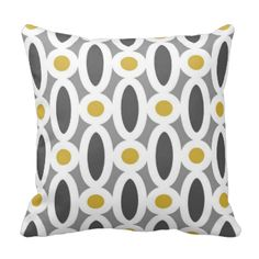 Cool Modern Oval Links Pattern in Mustard Yellow, Grey Charcoal and White #yellow #grey #white #pattern #geometric #trendy #contemporary #retro #abstract #chic #mod #decorative #bold #whimsical #coordinating #pillow #collection #designer #best #fresh #hip #trend #stylish #fab #home #decor #statement #link #circles #fashion #designer #pillow #bedroom #living #mix #and #match #pillows