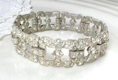 Art Deco Rhinestone Bracelet, Vintage 1920s Clear Pave Rhinestone Link Bracelet, Flapper Jewelry, Great Gatsby Wedding, Wide Silver Crystal Art Deco Rhinestone Bracelet Vintage 1920s Clear by AmoreTreasure