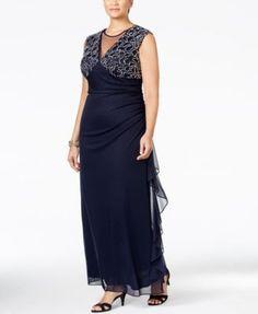 Xscape Plus Size Illusion Ruched Back Gown