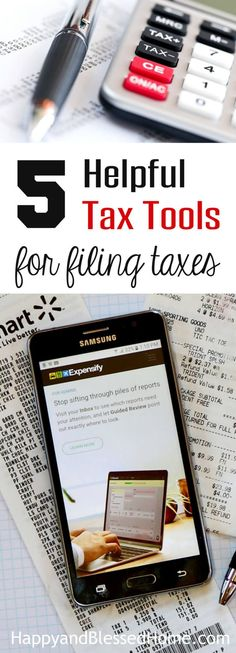 5 Helpful Tax Tools for Filing Taxes - Income Tax Return Resources, a FREE digital expense tracker, and more! File Income Tax, Income Tax Return, Managing Your Money, Make Money Blogging, Tax App, Business Expense Tracker, Paying Off Student Loans, Tax Refund, Blog Planner