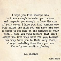 ''I hope you find someone who is brave enough to enter your storm, and respects you enough to love the size of your waves...'' -- T.B. LaBerge source: Word Porn