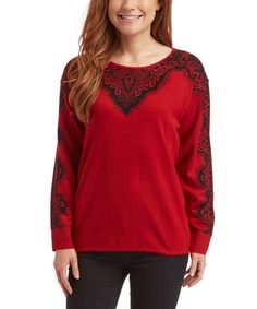 Look at this #zulilyfind! Red & Black Lace-Pattern Sweater #zulilyfinds