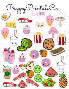 Kawaii Cute Food Stickers // Printable PDF // by PreppyPrintableCo Stickers Kawaii, Food Stickers, Printable Planner Stickers, Journal Stickers, Cute Stickers, Cute Food Drawings, Cute Kawaii Drawings, Kawaii Cute, Easy Drawings
