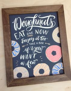Wedding Sign Doughnuts Take Home Box Sign Bright by papertangent - HHI - Donuts Coffee Wedding Favors, Wedding Donuts, Wedding Favor Boxes, Wedding Desserts, Chalkboard Wedding, Wedding Signage, Donut Bar, Donut Shop, Donut Birthday Parties