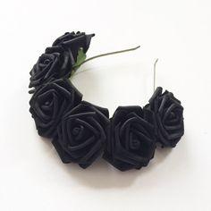 Liquorice Black Rose Flower Crown Headband by CandyFlowerUK