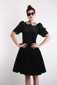 Vintage Black Velvet Dress  Party Gown  Lace . VeraVague