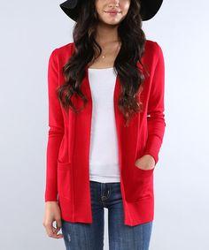 Look at this #zulilyfind! Red Pocket Open Cardigan - Plus Too #zulilyfinds