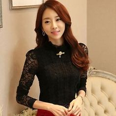Fashion-Lady-Long-Sleeve-Work-OL-Casual-High-Neck-Floral-Lace-Blouse-Top-T-Shirt