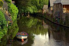 france, boat, flower, river, colorful