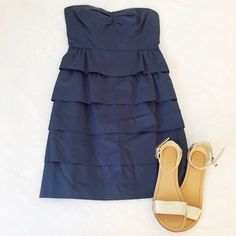J.Crew Ruffle Dress Adorable strapless dress with ruffled layers. Only worn twice. Very flattering! 100% Cotton. Length:29in. J. Crew Dresses Strapless