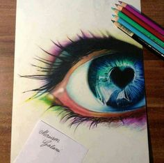 Colourful eye with heart pencil drawing - Some people just have an amazing talent. Has the look and feel of a photo--yet a drawing. Heart Pencil Drawing, Drawing Eyes, Pencil Drawings, Painting & Drawing, Art Drawings, Drawings Of Eyes, Cool Drawings Tumblr, Horse Drawings, Figure Drawing