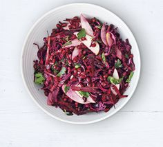 Red cabbage, beetroot & apple salad. This salad of shredded vegetables dotted with apple is a vibrant and healthier alternative to coleslaw