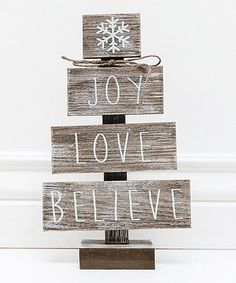 Loving this 'Joy Love Believe' Weathered Wood Tree Décor on #zulily! #zulilyfinds