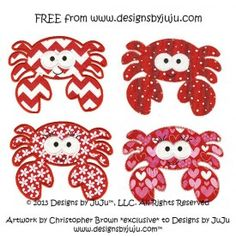 Cute Free Crab Applique machine embroidery design  by Designs by JuJu