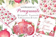 40% OFF Watercolor Pomegranates by Sunny Illustrations on @creativemarket