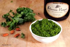 Kale Almond Pesto vegan, low fat, paleo perfect for pizza, pasta or your favorite Italian dish. Add veggies to your meal with this pesto.