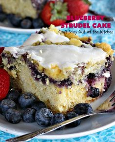 Tasty cake uses a yellow cake mix and yeast for the crust layer. It's topped with blueberry pie filling, streusel, and then glazed with an almond powdered sugar icing. Great as a holiday breakfast coffeecake or as a dessert. Blueberry Breakfast, Blueberry Pancakes, Breakfast Cake, Blueberry Strudel, Powdered Sugar Icing, Canned Blueberries, B Recipe, Streusel Topping, Cream Cheese Recipes