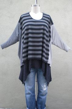 lagenlook+fashion | Lagenlook Mixed Stripes One Size Graphic Art To Wear ... | clothing