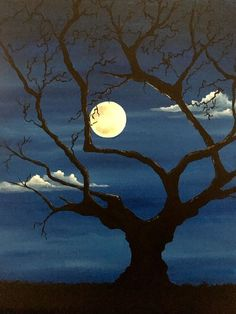 Acrylic Painting For Beginners, Painting Techniques, Moon Painting, Painting Art, Moonlight Painting, Halloween Painting, Silhouette Art, Pastel Art, Moon Art