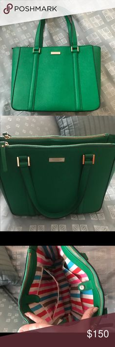 "Kelly Green Kate Spade Newbury Lane Cadene Purse Kelly Green Kate Spade Newbury Lane Cadene Purse. This leather handbag is 11"" wide x 9"" tall x 4"" deep. 7"" drop.  Great zipper compartments to keep you organized and stylish!  Gorgeous spring color with a whimsical striped colorful lining.  In great previously owned condition. kate spade Bags Satchels"