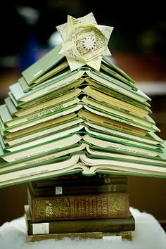 From the Toymaker's Journal. A Christmas tree made out of books.