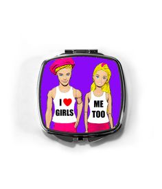 I Love Girls, Me Too! Gifts For Your Girlfriend, Your Girlfriends, Girls In Love, My Love, Things To Do With Boys, Stocking Fillers, Compact Mirror, Cosmetic Bag, Lesbian