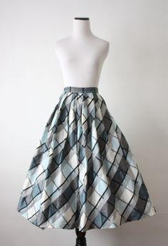 1950's taffeta plaid skirt