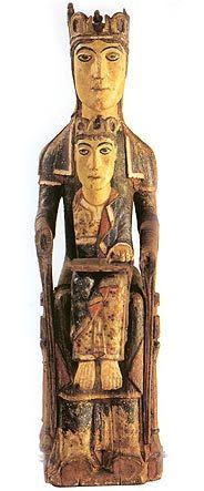 Tronende Madonna (rond 1150) uit Rarogne. Zürich, Zweicherisches Landesmuseum