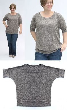 The slouchy tee: roomy, super comfortable, no set in sleeves or hems, really easy to sew; only one pattern piece for front and back and then a few rectangles to finish off sleeves, hem, and neckline. This shirt is actually a pretty weird shape when it's not on, but it works… as long as you sew it up in a soft, drapey, stretchy knit fabric. Anything with too much body will probably end up looking dumpy. But something delicate and drapey will give you the slouchy, relaxed look we're going for.