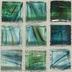 American Olean Visionaire Stained Glass - VA91 Peaceful Sea - 5/8 X 5/8 Designer Essentials Stained Glass Tile Mosaic - Glossy