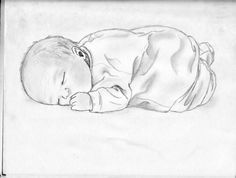 Baby Sleeping by Sketchlove on DeviantArt Pencil Portrait Drawing, Pencil Drawings, My Drawings, Pencil Art, Sleeping Drawing, Baby Drawing, Tree Sketches, Drawing Sketches, Sketching