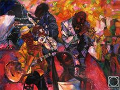 Ukranian painter Roman Nogin made several paintings of jazz bands. This one will be on display in the Jazz Museum Rotterdam - June 6 till July 19, 2015, Fenixloods 1, Rotterdam Katendrecht.