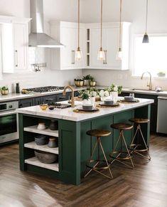 Kitchen interior - 35 Beautiful Kitchen Colors Ideas To Make Extraordinary Look – Kitchen interior Kitchen Island Bar, Green Kitchen Cabinets, Soapstone Kitchen, Kitchen Appliances, Home Decor Kitchen, Kitchen Interior, Home Kitchens, Small Kitchens, Rustic Kitchen