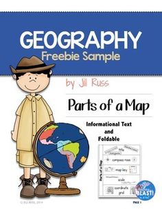 Try out two free  sample pages from my Geography Map Skills Unit & Lapbook with informational text, test, & more!}! This freebie has one page of informational text about the parts of a map. It also includes a one page foldable piece for students to use in their interactive social studies notebook.
