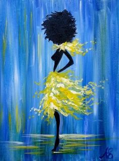 Mlle, fashion, yellow dress, silhouette of a woman, acrylic painting, flowing dress.