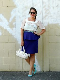 In Kinsey's Closet | Sheer top with purple peplum top and turquois pumps