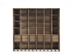 Open solid wood bookcase with drawers BIBLIO By Riva 1920 design Michele De Lucchi Modular Shelving, Bookcase Storage, Bookshelves, Living Room Storage, Home Living Room, Interior Design Tips, Home Interior, Bench Furniture, Sustainable Design
