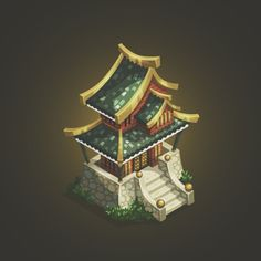 A traditional asian house #game #gameart #mobile #ios #art #android #vector #illustration #isometric #3d #2d