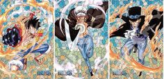 Trafalgar D. Water Law, Monkey D. Luffy, and Sabo One piece